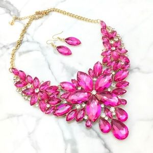 Pink Fuchsia Crystal Statement Set    ss1